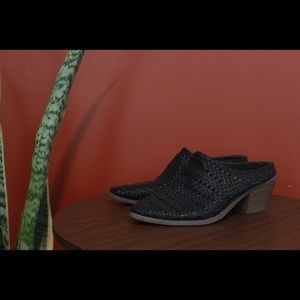 Woven black leather mules